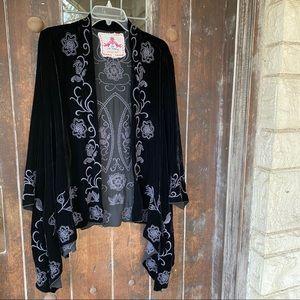 Johnny Was | Silk Rayon Velvet Draped Cardigan